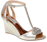 Badgley Mischka Nedra II Embellished T Strap Wedge Sandals