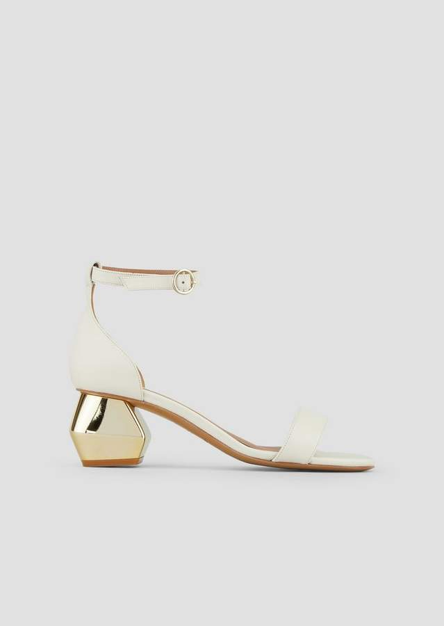 72c3e1ac66 Sandals In Nappa Leather With Ankle Strap And Chrome-Plated Hexagonal Heel