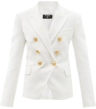 Balmain Double-breasted Cotton-canvas Blazer - White