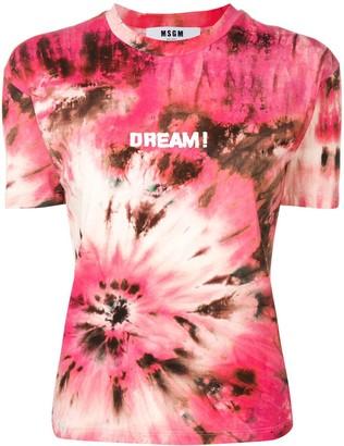 MSGM Dream print tie-dye T-shirt