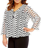 Multiples Plus Faux-Leather 3/4 Sleeve Button Front Printed Mesh Jacket