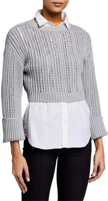 Brunello Cucinelli Shimmer English-Ribbed Crop Sweater