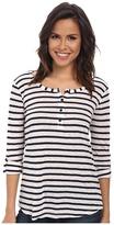 Splendid Venice Stripe Henley Tee Women's Long Sleeve Pullover