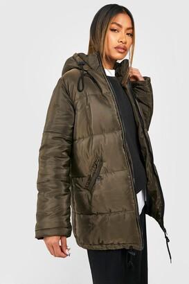 boohoo Hooded Longline Puffer Jacket