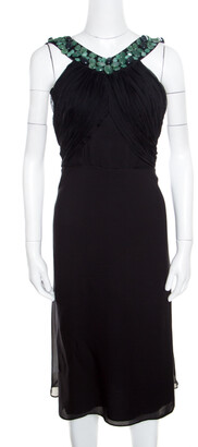 Catherine Malandrino Malandrino Black Silk Plisse Bodice Detail Embellished Sleeveless A Line Dress M