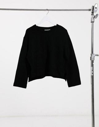Weekday Donnie organic cotton side split sweatshirt in black