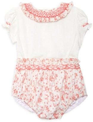 Luli And Me Baby Girl's Floral Ruffle Puff-Sleeve Bodysuit