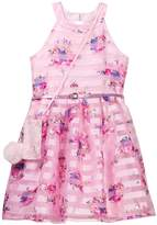 Beautees Floral Stripe Belted Dress with Accessory Bag (Big Girls)