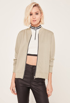 Missguided Green Loopback Bomber Jacket