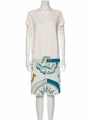 Hermes Bateau Neckline Knee-Length Dress w/ Tags White