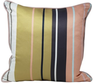 Rebecca J Mills Designs Simply - Striped Satin Cushion With Petal Pink Velvet Piping