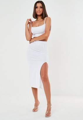 Missguided White Co Ord Side Split Midaxi Skirt