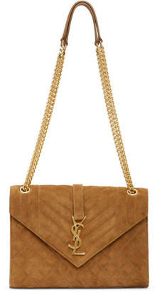 Saint Laurent Tan Medium Suede Envelope Bag