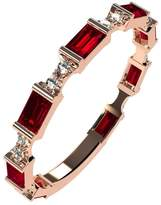 Nana Silver Stackable Ring Baguette Cut Rose Gold Flashed - Size 7 - Simulated Ruby - July Birthstone