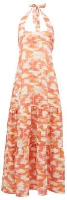 Three Graces London Ofelia Abstract Ikat-print Halterneck Linen Dress - Red Print
