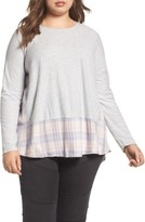 Vince Camuto Plus Size Women's Mixed Media Plaid Top