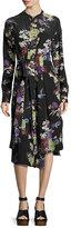 Isabel Marant Iam Bouquet-Print Silk Dress, Black