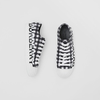 Burberry Logo Print Gingham Cotton Sneakers