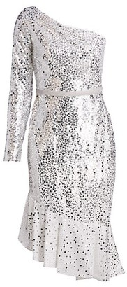 Marchesa Notte Sequin One-Shoulder Sheath Dress