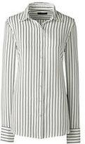 Classic Women's Petite Long Sleeve Crepe Blouse-Ivory Stripe