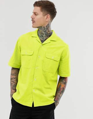 Asos Design DESIGN oversized neon texture shirt in green with double pocket