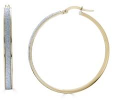 Macy's Glitter Hoop Earrings in 14k Yellow Gold 35mm