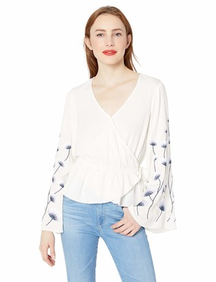 Cupcakes And Cashmere Women's silvy wrap Blouse with Embroidered Sleeves