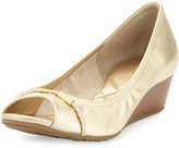 Cole Haan Tali Open-Toe Leather Wedge Pump, Soft Gold