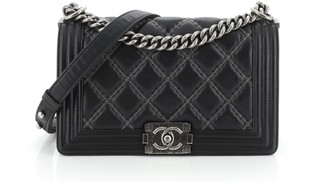 Chanel Double Stitch Boy Flap Bag Quilted Iridescent Calfskin Old Medium