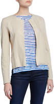 Majestic Open-Front Long-Sleeve Linen Jacket