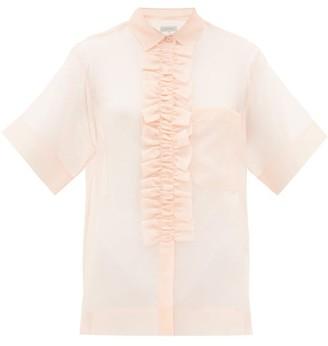 Lee Mathews Callie Ruffled-placket Silk-organza Blouse - Womens - Pink