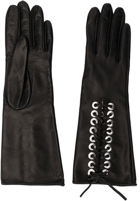 Manokhi Lace-Up Panel Eyelet Detail Gloves