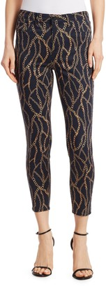 L'Agence Margot Chain-Print Cropped Jeans