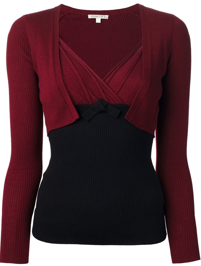 Paule Ka pleated bi-colour sweater