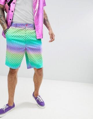 Asos Design DESIGN Skater Shorts In Rainbow Checkerboard Print-Green