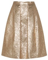 Oscar de la Renta Metallic wool and silk-blend jacquard cloqué skirt