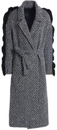 Mother of Pearl Ruffle-Trimmed Wool-Blend Tweed Coat