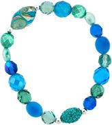 SPARKLE ALLURE Dazzling Designs Blue Glass Bead Stretch Bracelet