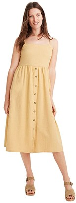 Madewell Texture Thread Cami Button Front Midi Dress (Sundried Wheat) Women's Dress