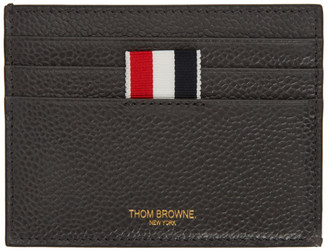 Thom Browne Grey 4-Bar Blind Emboss Note Compartment Card Holder