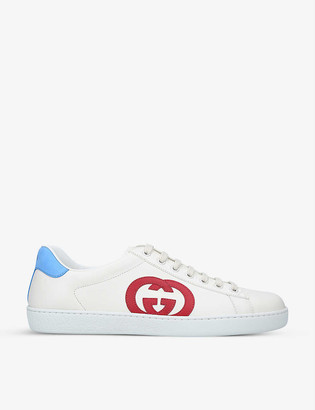Gucci New Ace colour-blocked leather mid-top trainers