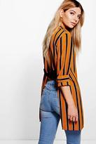 Boohoo Evie Striped Open Back Longline Shirt