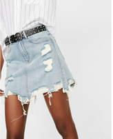 Express high waisted destroyed denim mini skirt