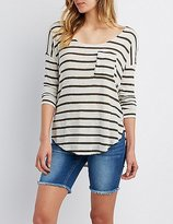 Charlotte Russe Striped Dolman Pocket Tee