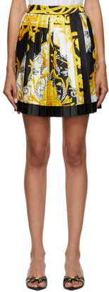 Versace White and Gold Pattern Pleated Short Skirt