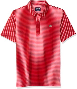 Lacoste Men's Short Sleeve Jersey Polo with Fine Stripes