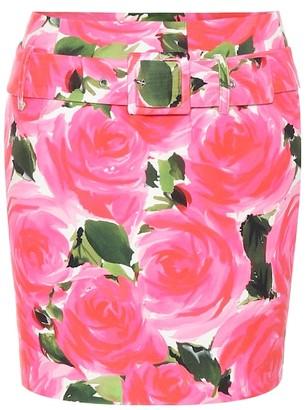 Richard Quinn Rose-print velvet miniskirt