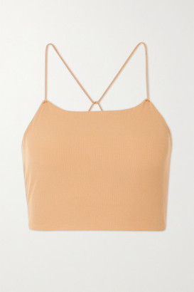 Nike Yoga Luxe Cropped Ribbed Infinalon Dri-fit Tank - Beige