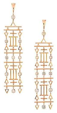 Etho Maria Women's Geometric 18K Rose Gold & Brown Diamond Chandelier Earrings