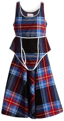 Charles Jeffrey Loverboy Checked Velvet Dress - Womens - Blue Multi